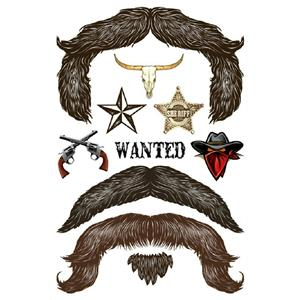 StacheTATS The Outlaw Mustache Temporary Facial Tattoos Assortment