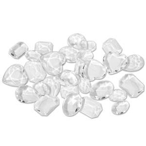 Pack of Clear Plastic Fake Diamonds Gems