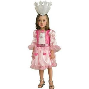 Girls Wizard of Oz Glinda Pink Costume Dress and Crown Child Small 4-6