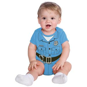 Baby Police Man Officer Light Blue Body Suit Newborn Infant Costume 0-6 months