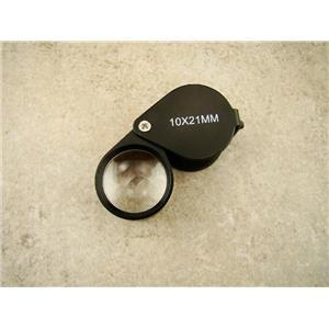 Jewlers 10X Loupe Black Anodized Aluminum K9 Optical Glass Lens 10X21MM
