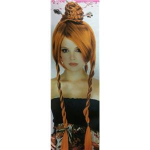 Auburn Red Power Bun With Braids Japanese Chinese Geisha Oriental Costume Wig