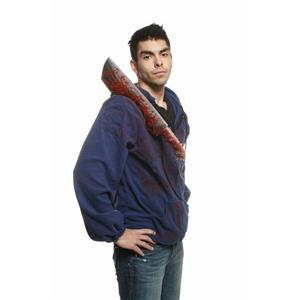 Morbid Bloody Machete Weapon Victim Adult Blue Hoodie Costume Jacket Large