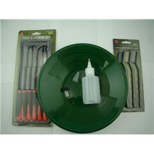"""12pc Crevice Mining Kit-10"""" Green Gold Pan-6 Picks-3 Brushes-Free Snuffer &Vial"""