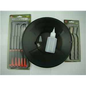 "12pc Crevice Mining Kit-10"" Black Gold Pan-6 Picks-3 Brushes-Free Snuffer &Vial"