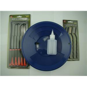 "12pc Crevice Mining Kit-10"" Blue Gold Pan-6 Picks-3 Brushes-Free Snuffer &Vial"