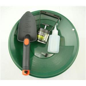 """Gold Panning Mining Kit-Green 12""""Pan-Magnet Pick Up Tool-Scoop-Free Snuffer&Vial"""