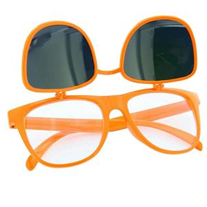 80's Orange Mirror Lens Flip Up to Clear Lens Blues Brother Glasses Eyewear