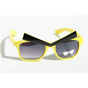 Yellow Frame Angry Expression Eyes Black Eyebrows Glasses Dark Lens Novelty Game
