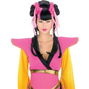 Black and Pink Couture Geisha Wig