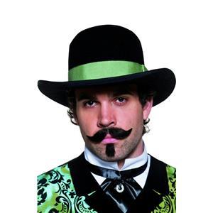 Western Gambler Hat Wide Brim Black Bowler Green Rim