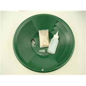 """Gold Rush Mining Kit"" Real PayDirt-12"" Green Gold Pan-Vial-Snuffer-Yukon"