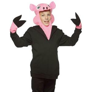 Pink Pig Child Costume Headpiece and Gloves Farm Animal Kit Ages 7-10