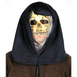 Grim Reaper Skeleton Skull Black Hooded Half Mask with Attached Gray Hair