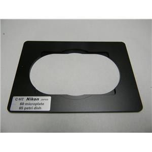 Used: Nikon 60 Microplate/65 Petri dish C-HT Stage Holder Microscope Adapter