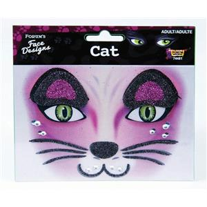 Glittered Rhinestone Cat Face Design Art Self Adhesive Stickers Decor Makeup