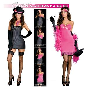 Dreamgirl Women's Sexy Quick Change Gangster and Flapper Adult Costume XL 12-14