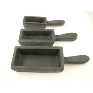 3 Mold Set - 200oz, 80oz, 40oz Gold Bar Loaf Cast Iron Steel Molds Melting