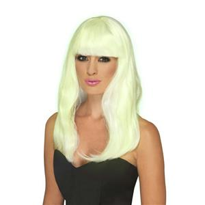 Smiffy's Women's Glow In The Dark Long Glam Party Wig with Bangs