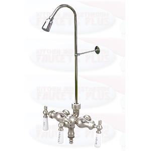 Chrome 3 38 Clawfoot Add A Shower Tub Faucet With Riser Head
