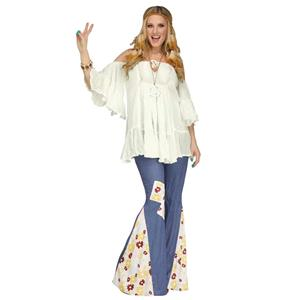 White Flowy Gauze 60s Groovy Hippie Women's Costume Shirt Off the Shoulder Top