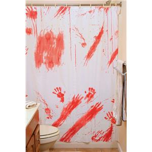 Bloody Shower Curtain Psycho Hotel Bathroom Halloween Horror Decor