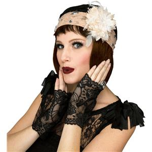 Fancy Gorgeous Champagne 1920's Flapper Lace Cap Cloche Hat and Black Mitts