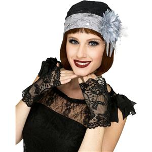 Fancy Gorgeous Gray Black 1920's Flapper Lace Cap Cloche Hat and Black Mitts