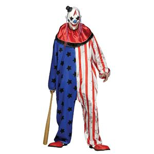 Fun World Evil Clown Adult Men's Costume Jumpsuit and Mask Standard Size