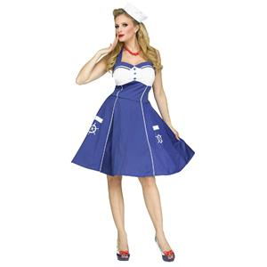 Fun World Women's Sweet Sailin' Sexy Retro Sailor Girl Adult Costume M/L 10-14