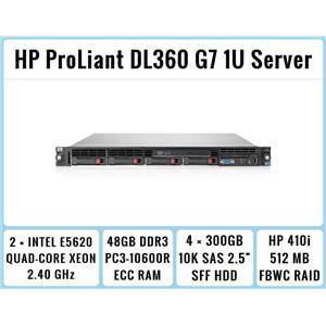HP ProLiant DL360 G7 1U Server 2×Quad-Core Xeon 2.4GHz + 48GB RAM + 4×300GB SAS