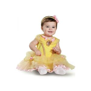 Disney Princess Belle Deluxe Infant Baby Girls Child Costume Size 6-12 months