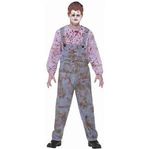 Boy's Haunted Child Scary Bloody Creepy Chucky Doll Costume and Mask Size 12-14