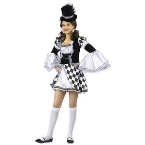 Girl's Harlow Quinn Junior Costume Harlequin Black and White Diamond Clown 0-9