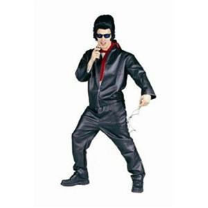 80152 Adult Male King of the 50's Faux Leather Jacket and Red Scarf One Size