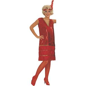 Rubie's Women's Super Deluxe Red Silver Sequin Flapper Adult Costume Large 15375