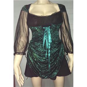 Women's Blue Green Velvet Burnout Treasure Pirate Sexy Costume Dress M/L 8-12