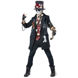 Voodoo Dude Mens Scary Skeleton Skull Adult Costume Medium 40-42