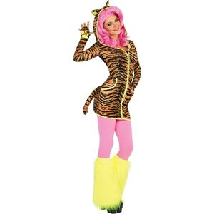 Women's Sexy Bright Tiger Hoodie Dress With Tail Ears Paws Adult Costume Small
