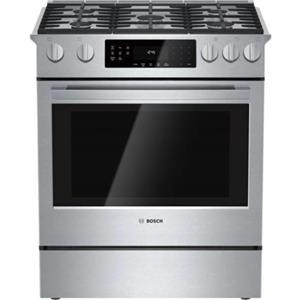 "Bosch 800 Serie 30"" 5 Sealed Burner Stainless Slide-in Gas Range HGI8054UC EXLNT"