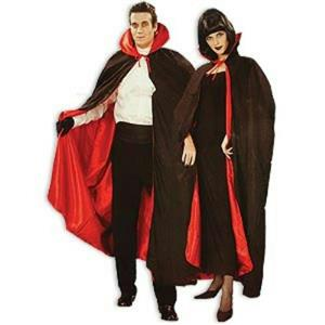 "Deluxe Black and Red 56"" Fully Lined Tattered Vampire Dracula Devil Costume Cape"