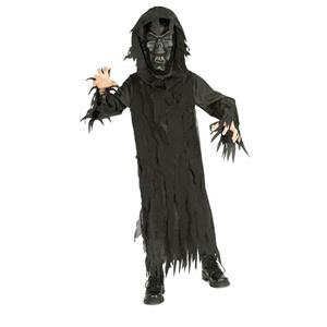 Rubie's Boy's Skeleton Lord Black Hooded Robe and Mask Child Costume Medium