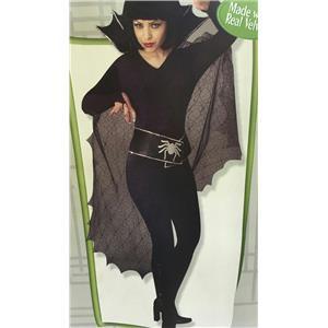 Women's Black Sexy Spider Diva Velvet Jumpsuit Costume Medium 10-14