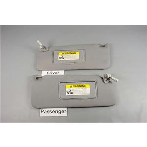 2007-2013 Acura MDX Sun Visor Set Pair Covered Lighted Mirrors Adjust Bars