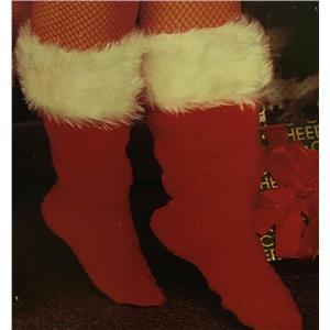 Rubie's Red Plush Santa Boot Christmas Slippers White Trim Adult Unisex X-Small