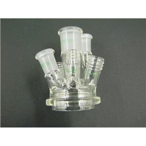 New: Chemglass Reaction Vessel Lid 6-Necks 50mL Laboratory Glassware w/ Warranty