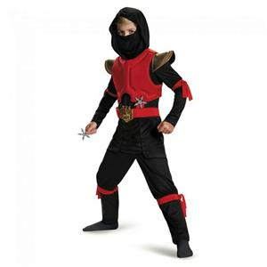Disguise Red/Black Boys Fire Ninja Deluxe Child Costume Medium 7-8