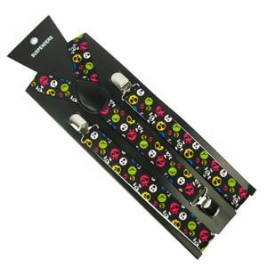 Adjustable Black with Neon Skull Print Suspenders