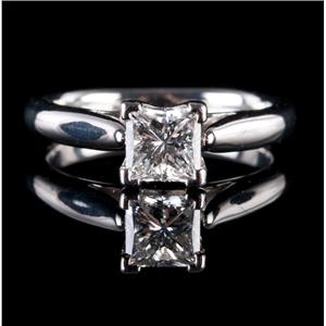 Stunning Platinum Princess Cut Diamond Solitaire Engagement Ring .71ct