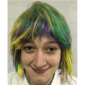Mardi Gras Choppy Yellow Green Purple Layered Fat Tuesday Party Wig
